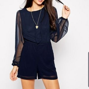 AX PARIS Chiffon Playsuit With Long Sleeve Size 10